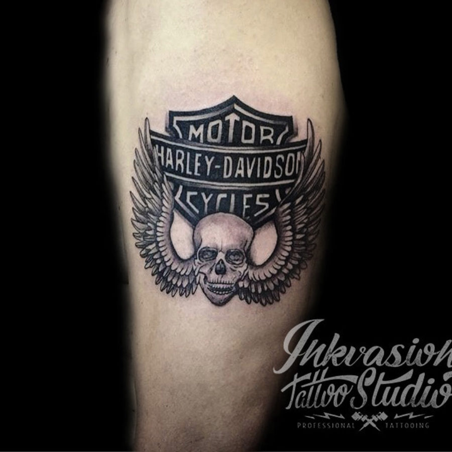 Harley Davidson Winged Skull Tattoo