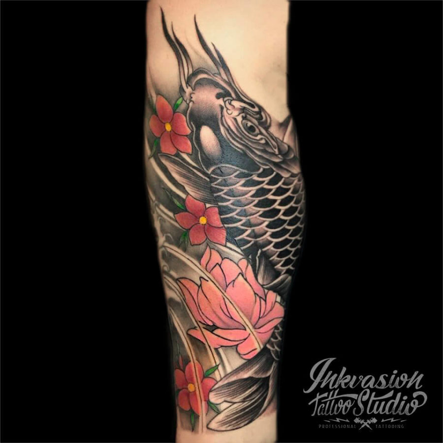 Koi Fish With Lotus Tattoo
