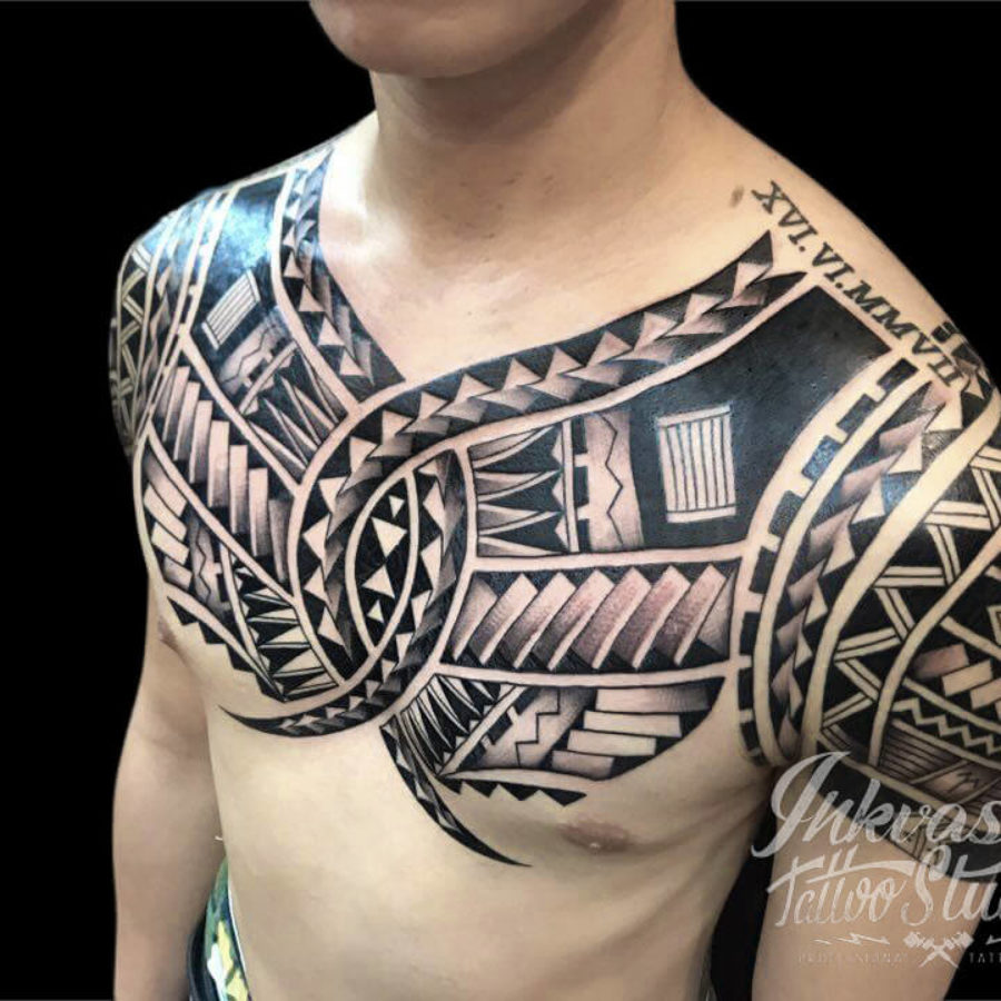 Polynesian Maori Chest Tattoo