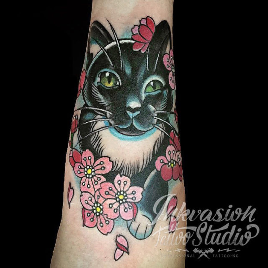 Cat With Cherry Blossom Tattoo