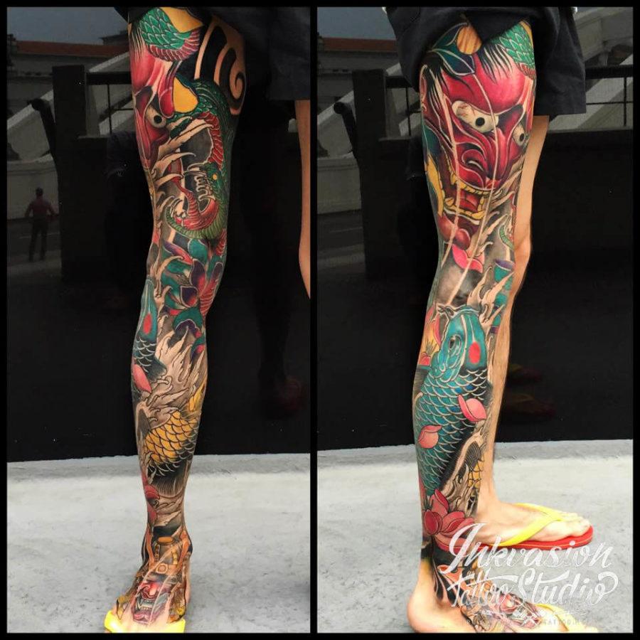 Japanese Hannya Koi Full Leg Tattoo
