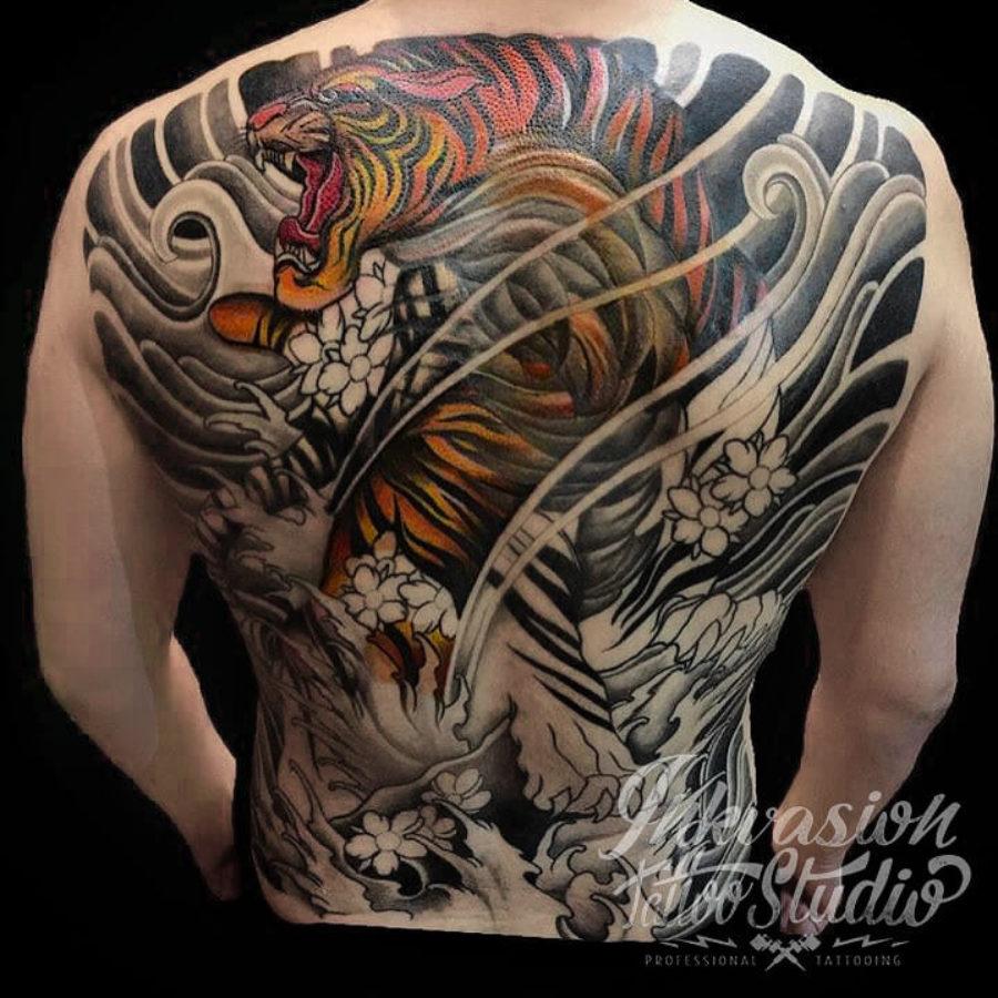 Japanese Tiger Full Back Tattoo