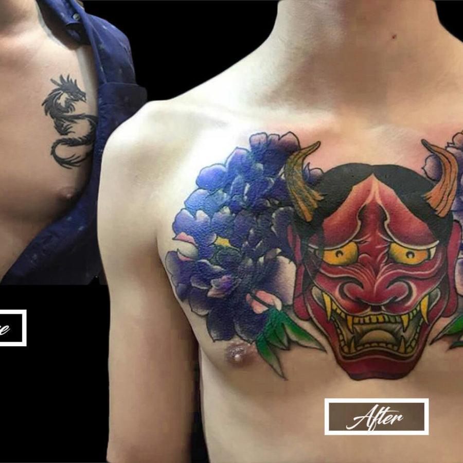 Hannya Mask Cover-Up Tattoo
