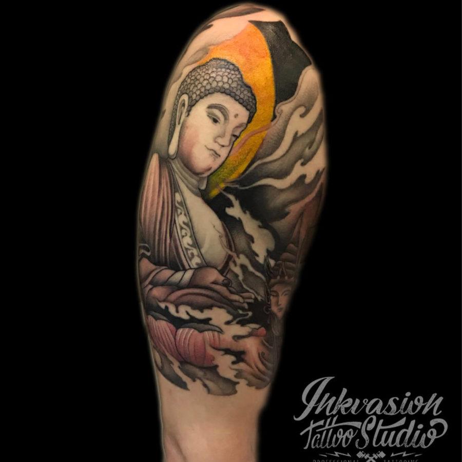 Oriental Buddha Half Sleeve Tattoo