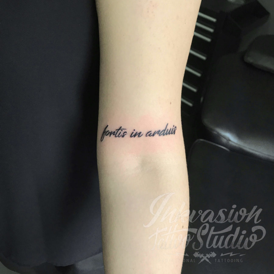 Fortis In Arduis Script Tattoo