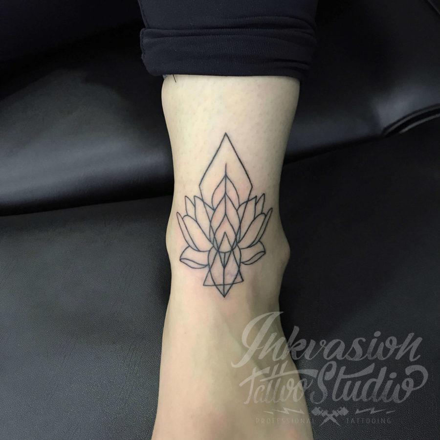 Lotus Mandala Linework Tattoo