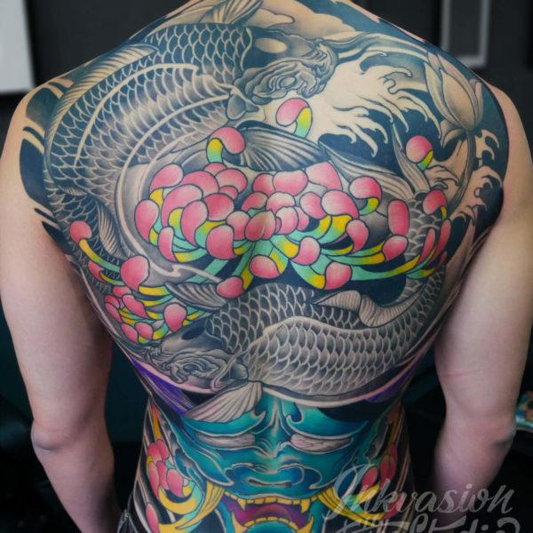 Japanese Hannya & Koi Full Back Tattoo