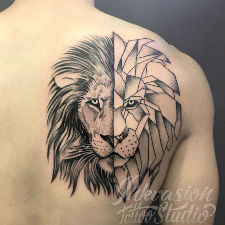 Lion Half Geometric Tattoo