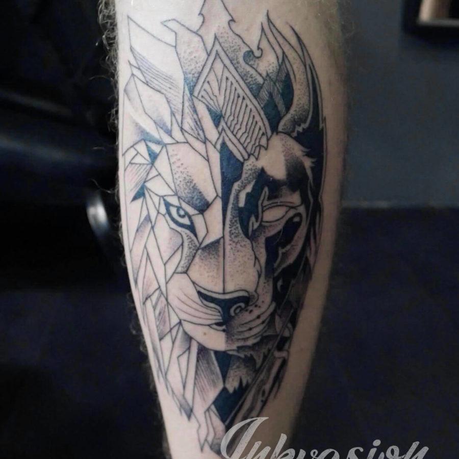 Half Geometric Lion Tattoo