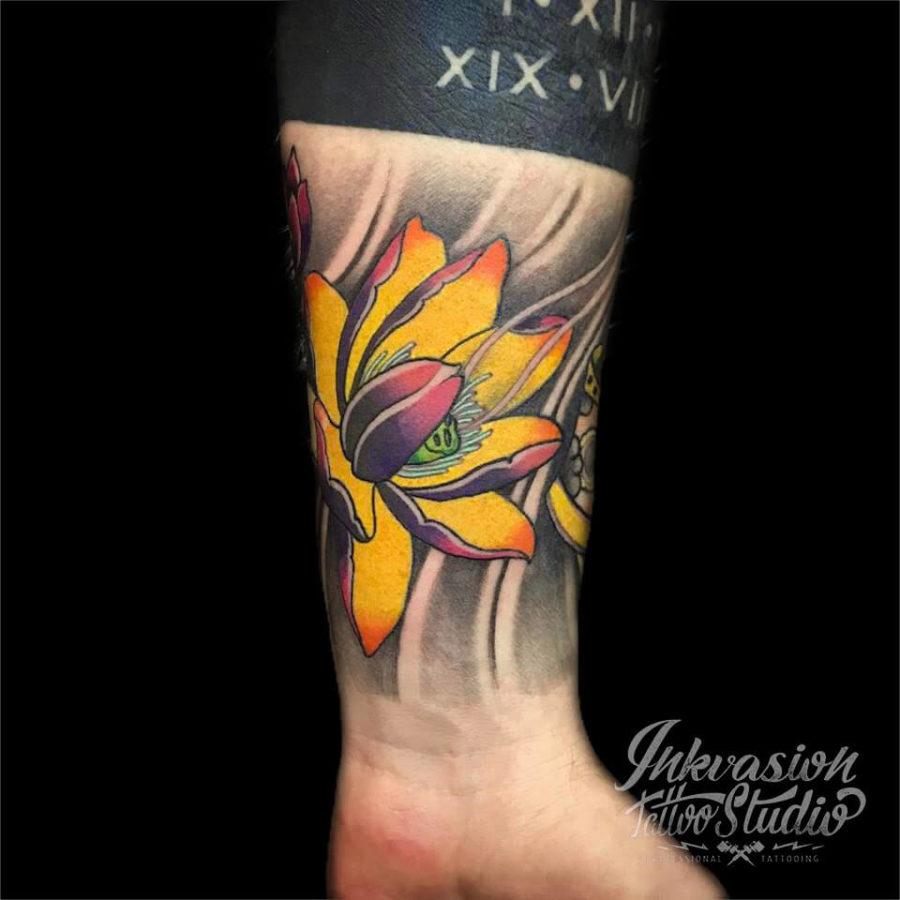 Japanese Style Lotus Tattoo