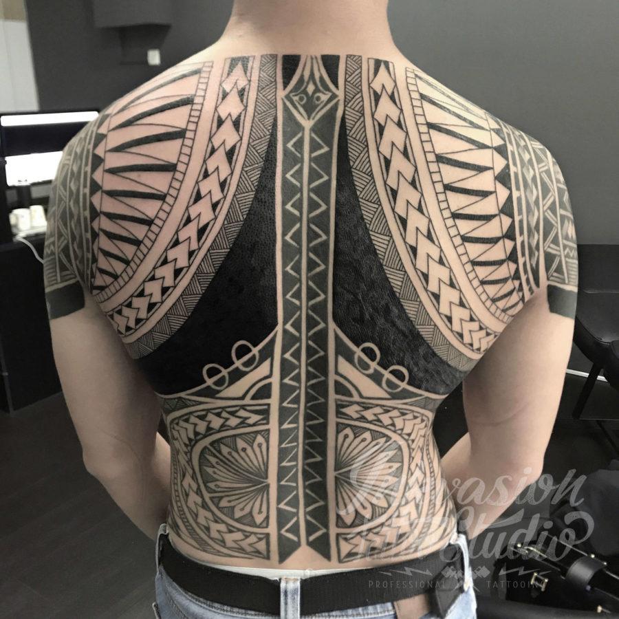 Polynesian Samoan Full Back Tattoo