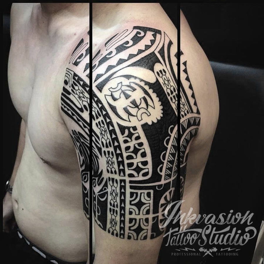 Polynesian Maori Half Sleeve Tattoo