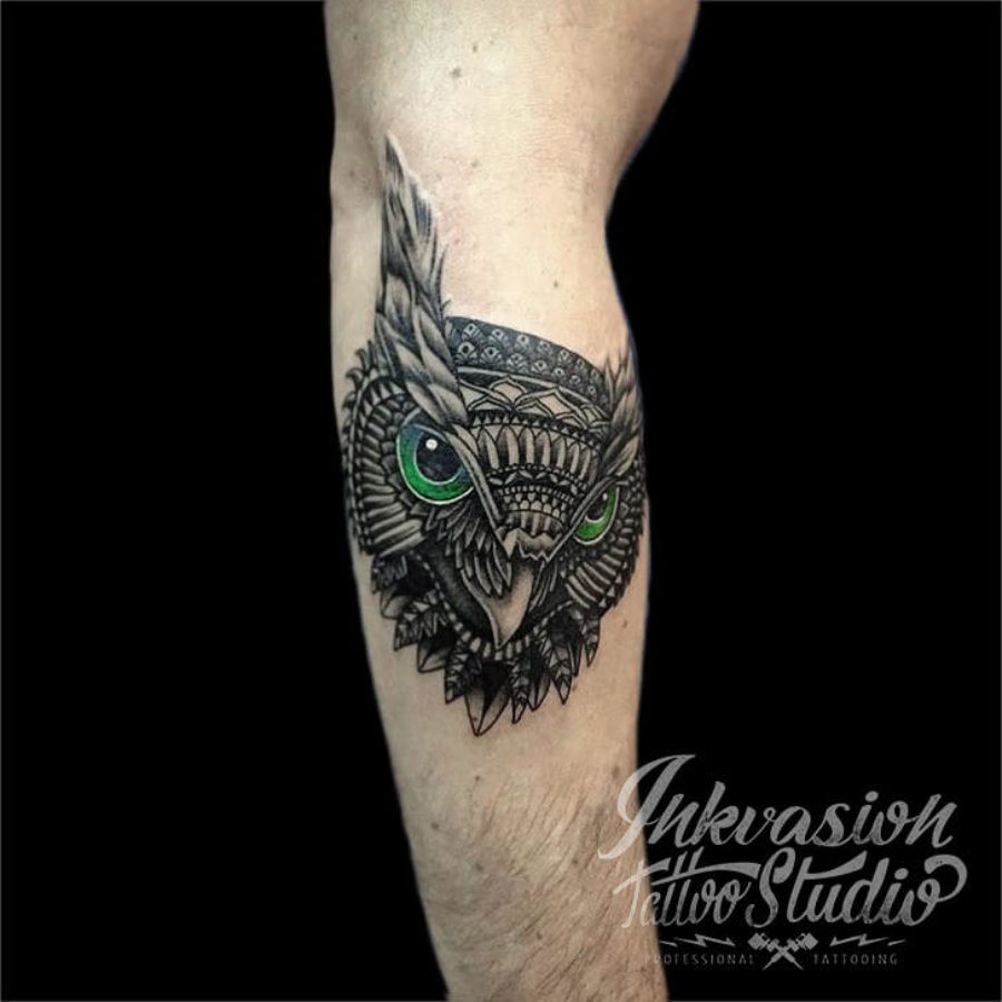 Tribal Style Owl Tattoo