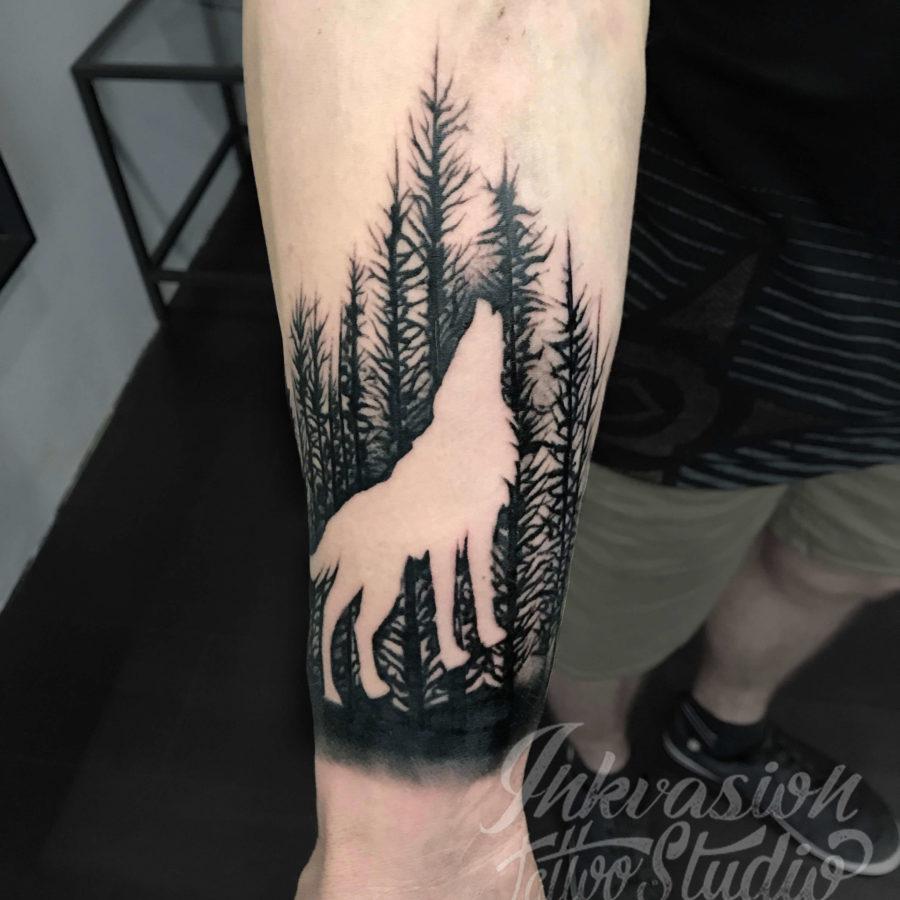 Wolf Silhouette Tattoo