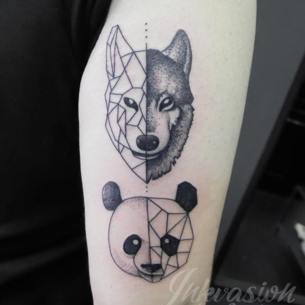 Geometric Wolf Panda Tattoo
