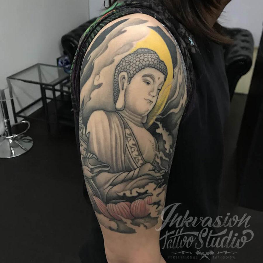 Healed Oriental Buddha Tattoo