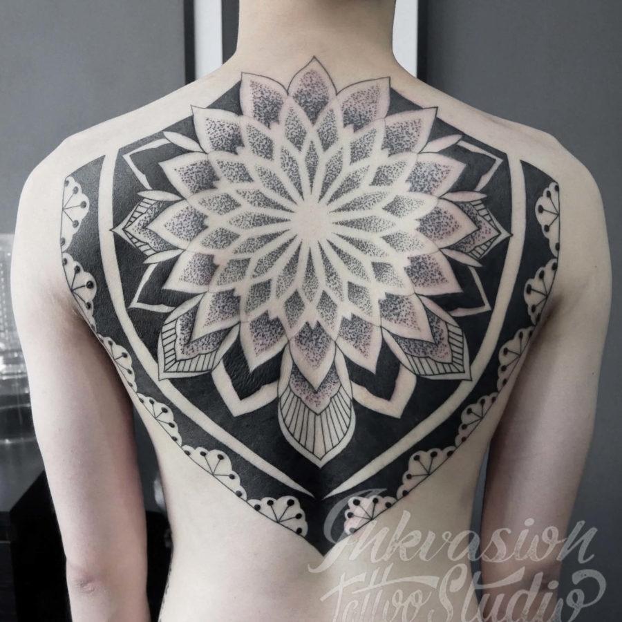 Dotwork Mandala Back Piece Tattoo