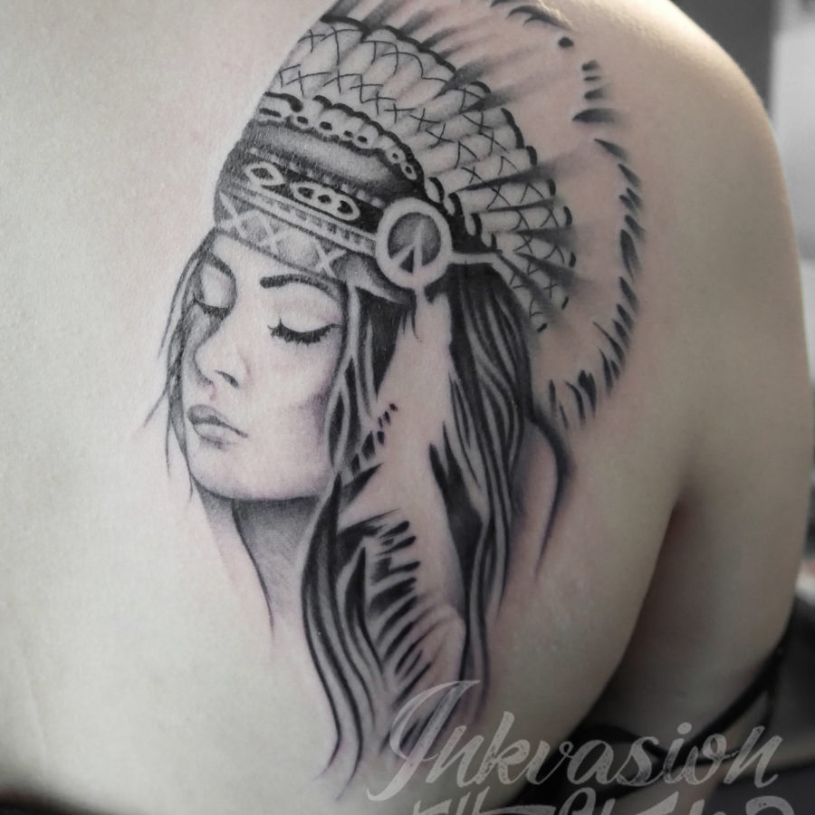 Red Indian Girl With Eyes Closed Tattoo