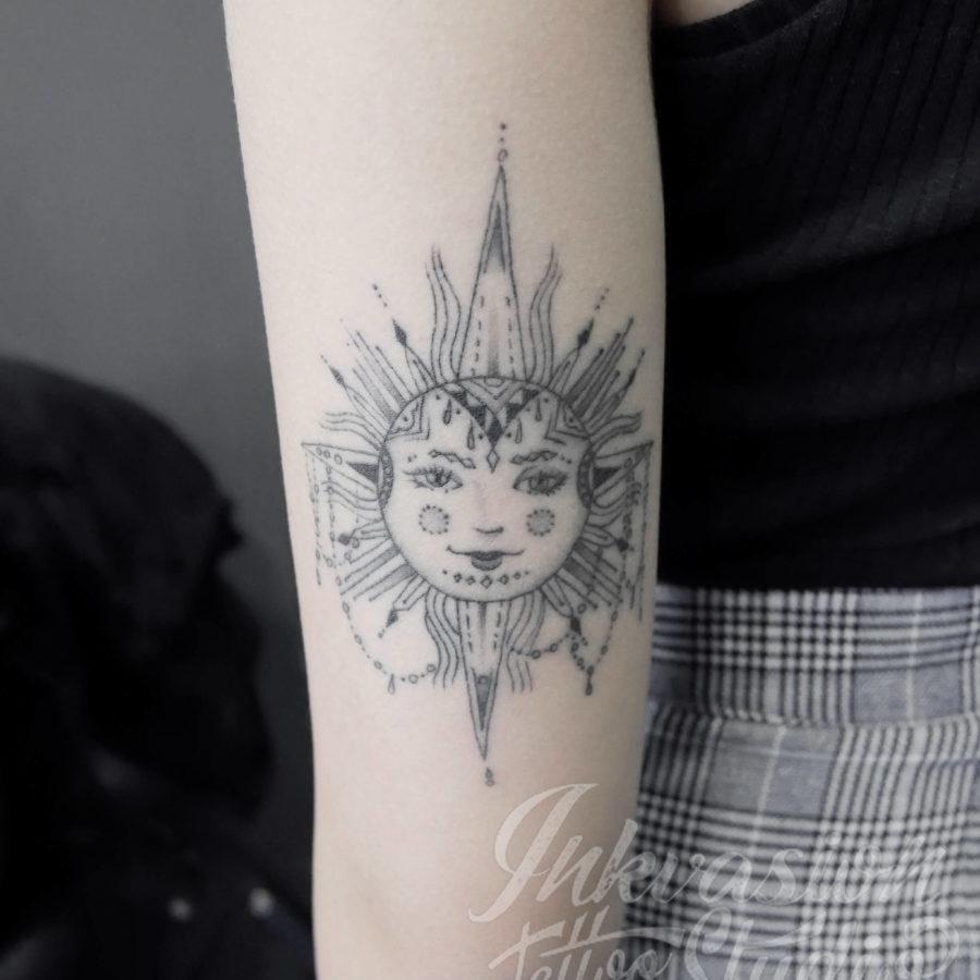 Sun Fine Line Tattoo